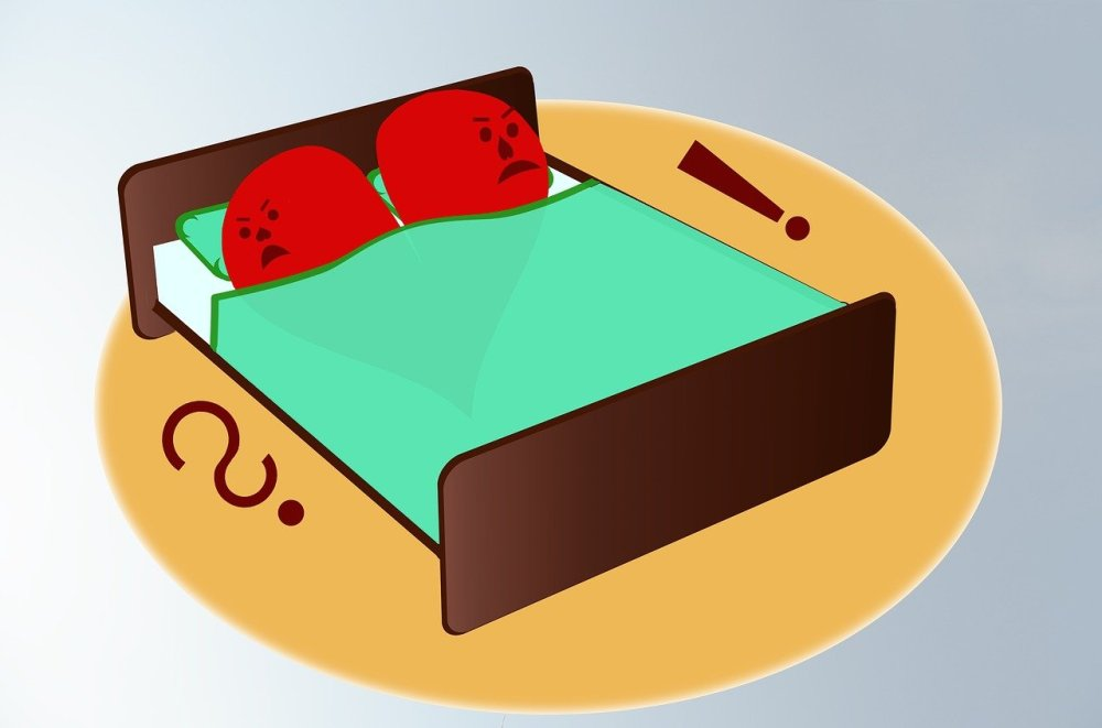 A graphical image of two halves of a red heart with angry faces turned away from each other in a brown bed with a green sheet on a tan circle and a brown question mark and exclamation mark on each side respectively