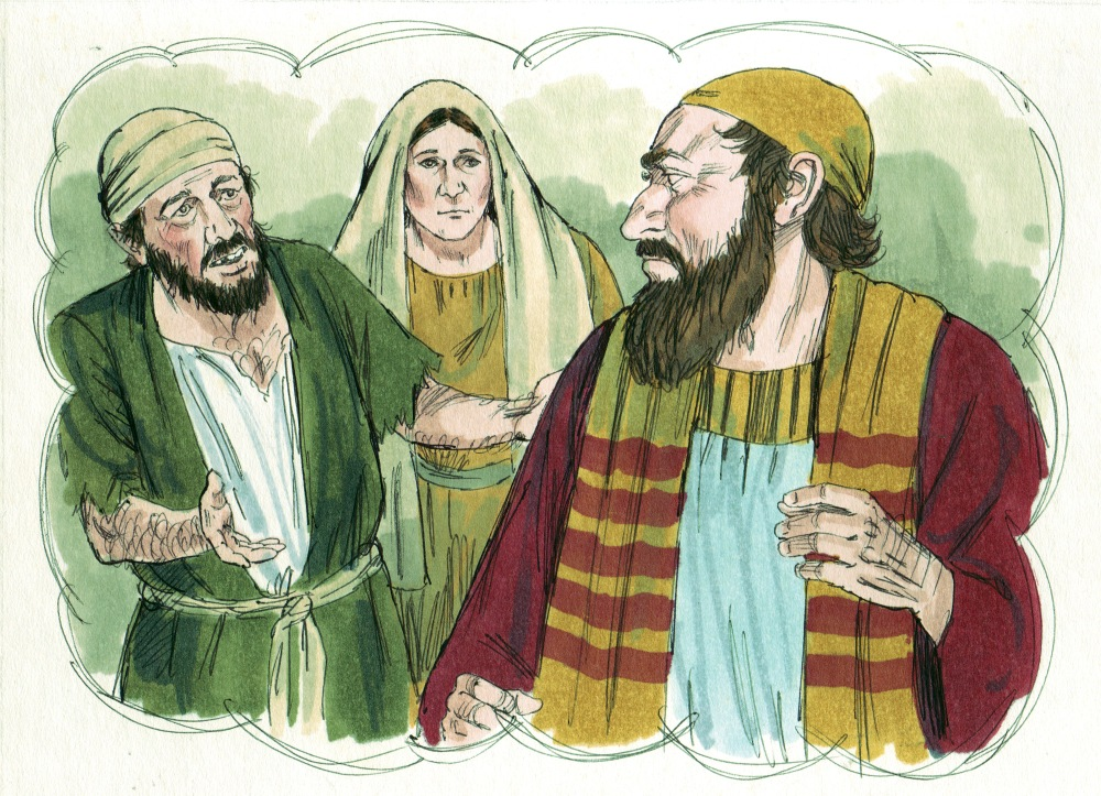 Colored drawings of two Middle Eastern men and a women in traditional dress with one man wearing green and white conversing with the other in red, gold, and white who is looking and listening and the woman observing in the background