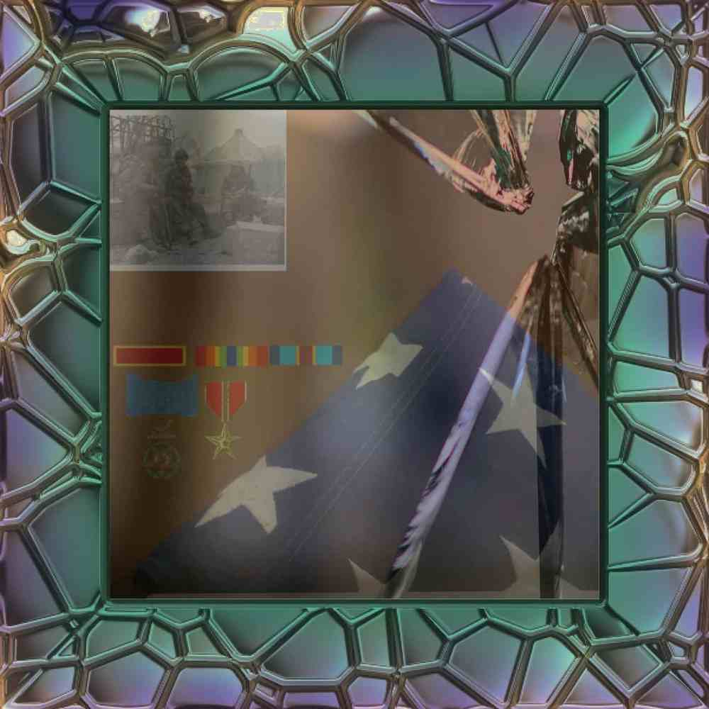 A broken mirror with various military ribbons, medals, a triangle flag, and photo reflecting in it with a green and blue stained glass border