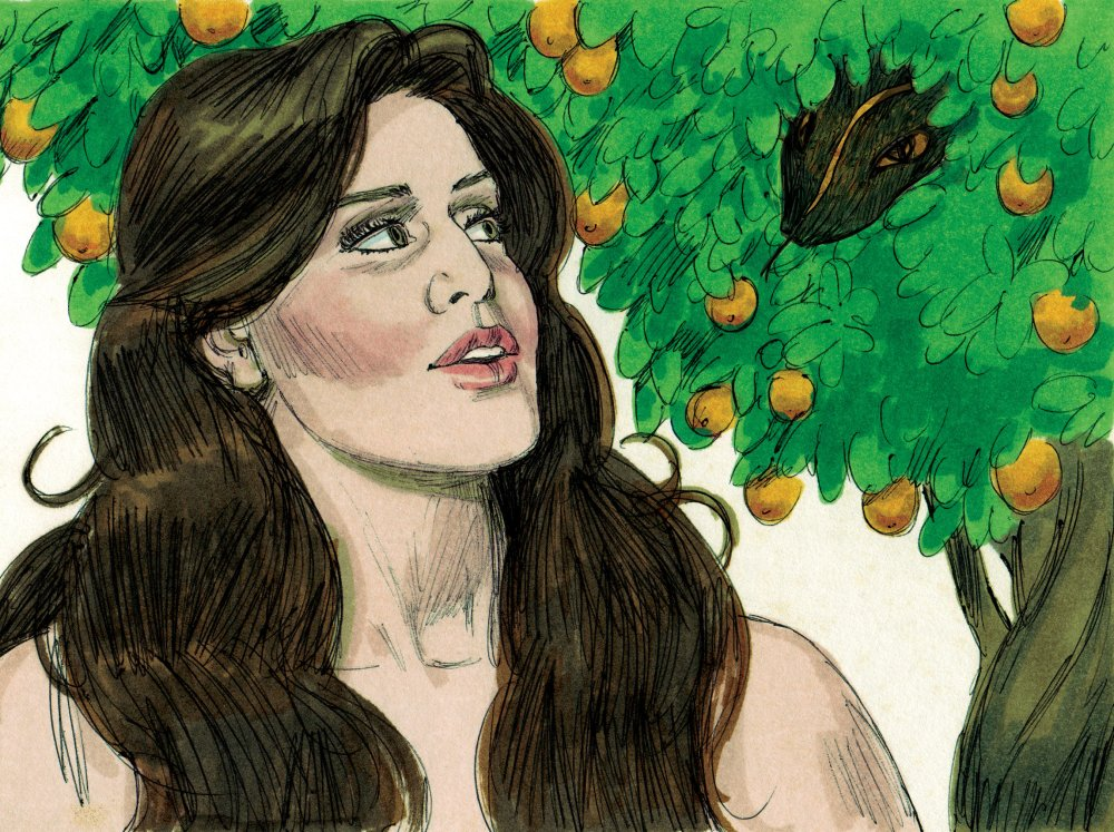 An illustration of a woman with long brown hair and bare shoulders looking at a snake's head nested in a large fruit tree