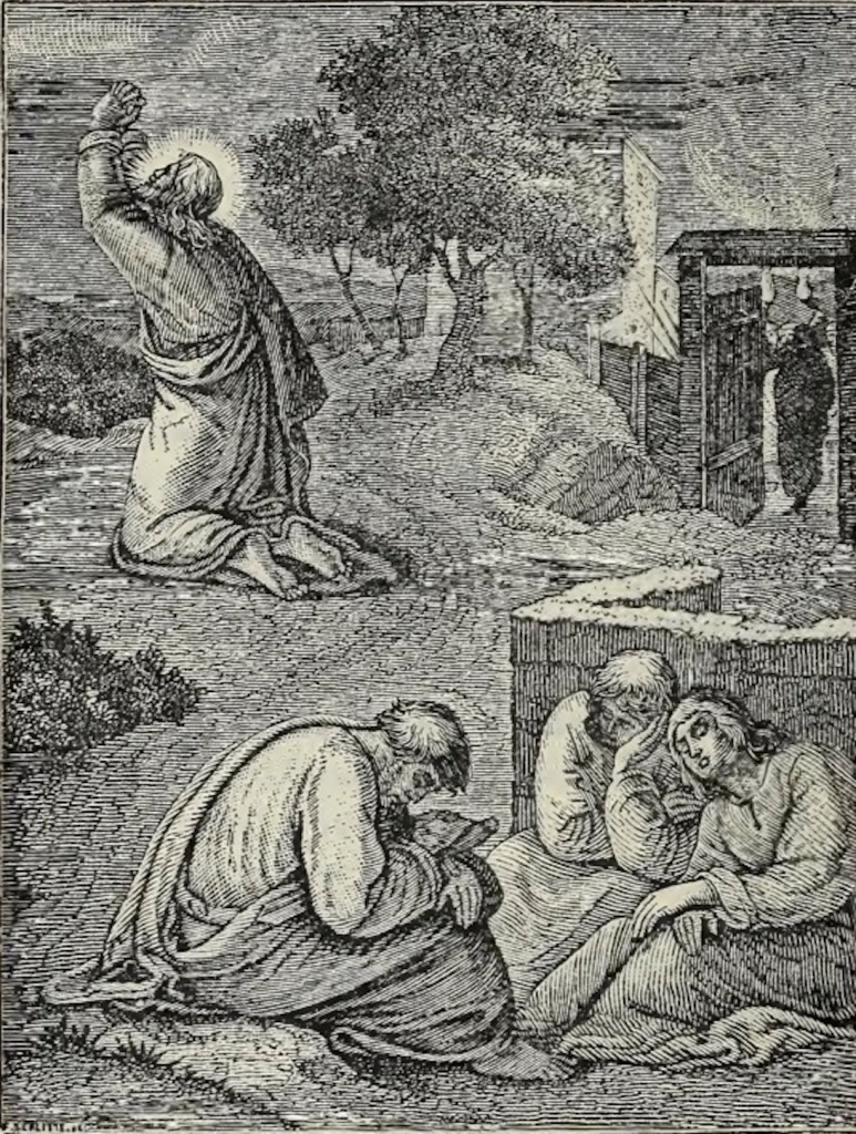 An engraving of Jesus praying in the garden of Gethsemane with His disciples asleep in the foreground