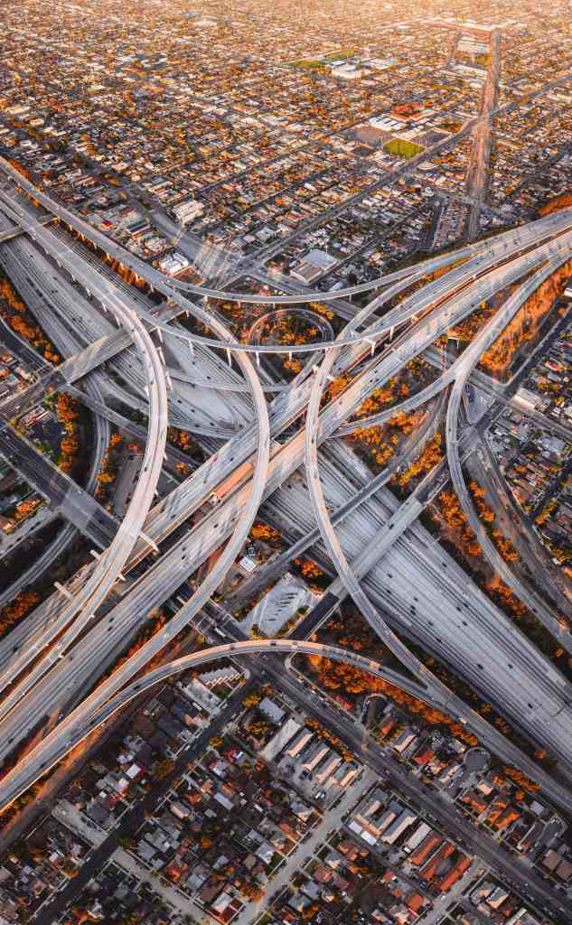 An aerial photo of the Judge Harry Pregerson Interchange in Los Angeles, California