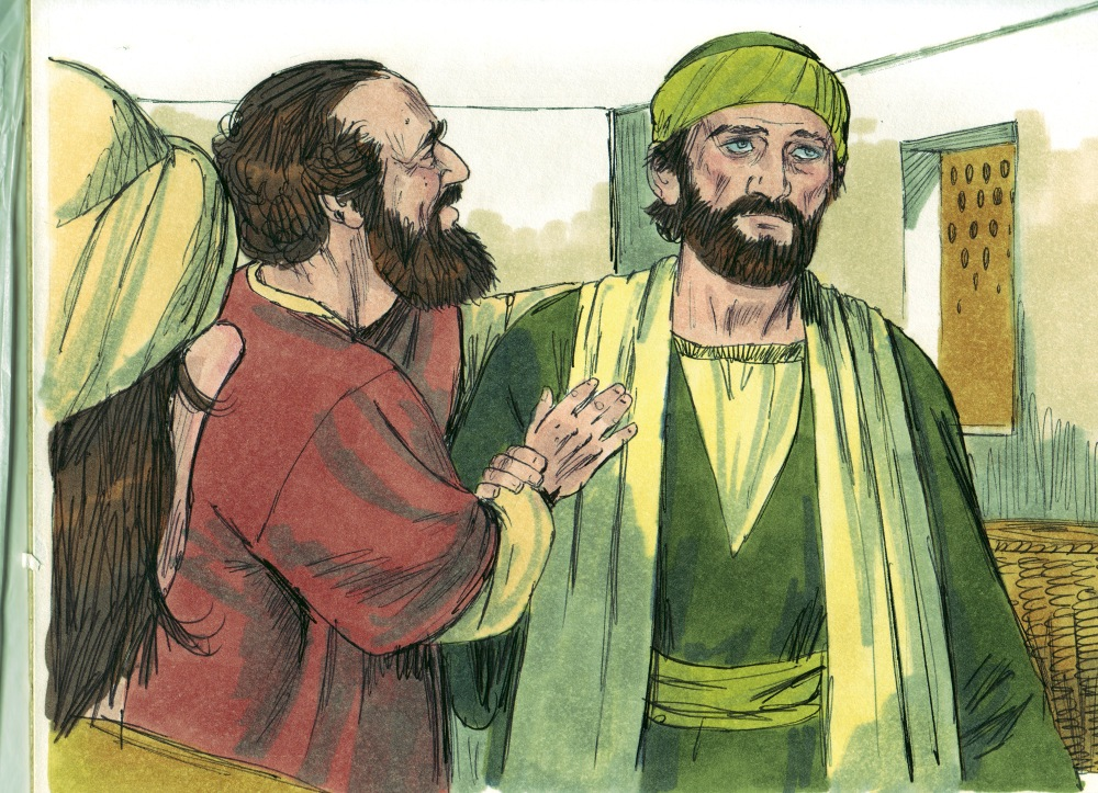 A color illustration of a joyous man in red Middle Eastern garb holding his hand against a blind man's chest