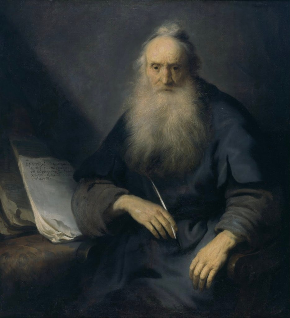 A painting by Jan Lievens of the Apostle Paul sitting at a desk with a small collection of papers with handwriting while holding a writing utensil in his right hand and looking forward in an expression of deep distant thought