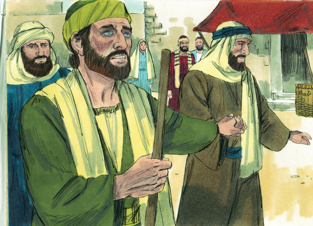 A color illustration of two men in green and pale yellow Middle Eastern garb guiding and holding a blind man's hand while he holds a staff in the other
