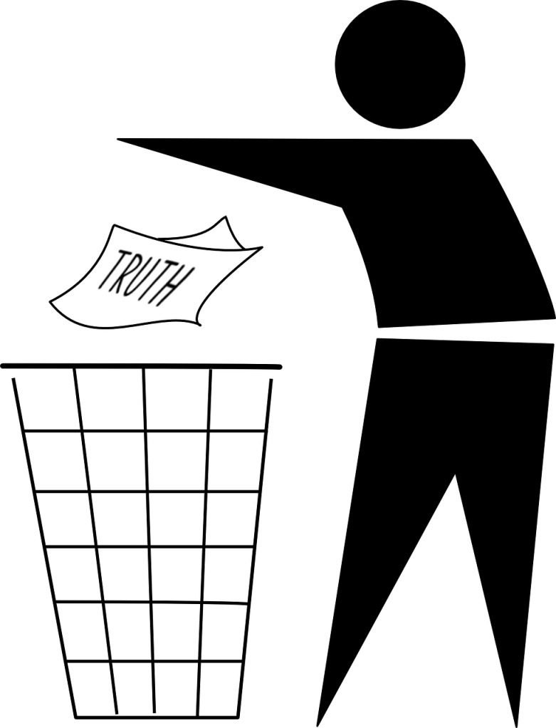"""A graphical silhouette of a figure discarding a piece of paper with word """"truth"""" on it in a wire frame trash can"""